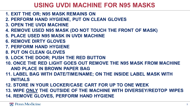 Using UVDI Machine for N95 Masks (Source Penn Medicine)