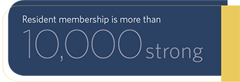 Resident membership is more than 10,000 strong
